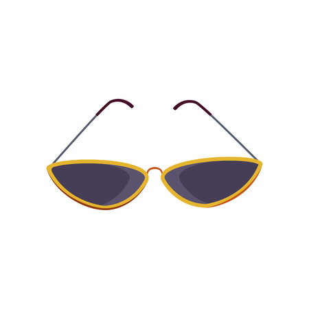 Cat eye sunglasses. Black shades in yellow frames for women and girls. Vector illustration can be used for topics like vacation, sun, accessory, fashion Stock Illustratie