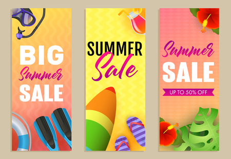 Big Summer Sale letterings set, surfboard and flippers. Tourism, summer offer or shopping design. Handwritten and typed text, calligraphy. For brochures, invitations, posters or banners. Illustration