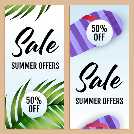 Sale Summer Offers letterings set with leaves and flip flops. Tourism, summer offer or shopping design. Handwritten and typed text, calligraphy. For brochures, invitations, posters or banners.