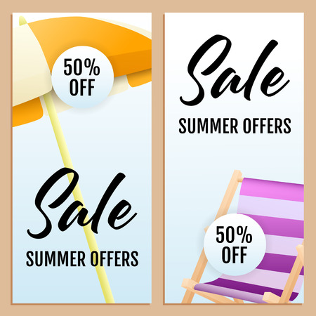 Sale Summer Offers letterings set, chaise longue and umbrella. Tourism, summer offer or shopping design. Handwritten and typed text, calligraphy. For brochures, invitations, posters or banners.