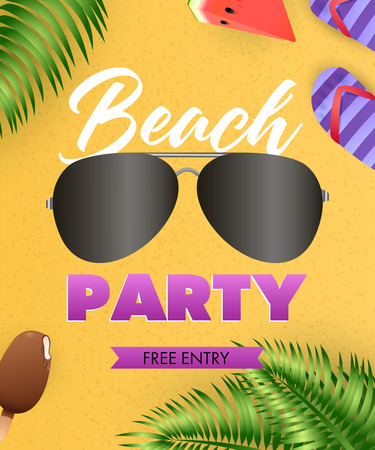 Beach Party lettering, sunglasses, flip flops, tropical leaves. Tourism, summer or invitation design. Handwritten and typed text, calligraphy. For leaflets, invitations, posters or banners.