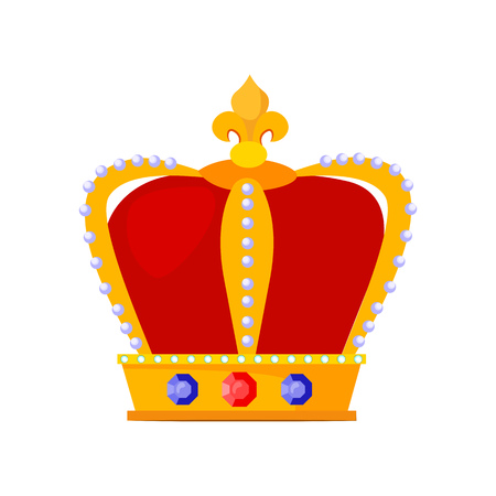 Royal crown vector illustration. King, coronation, emperor. Monarchy attributes concept. Vector illustration can be used for topics like history, jewelry, monarchy Ilustração