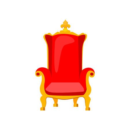 Red royal throne vector illustration. Armchair, old-fashioned seat, luxury. Monarchy attributes concept. Vector illustration can be used for topics like furniture, history, interior Çizim