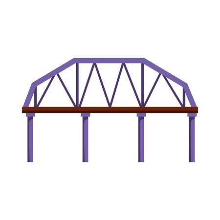 Railroad bridge vector illustration. Overpass, city, landmark. Bridges concept. Vector illustration can be used for topics like architecture, transportation, travel Ilustração