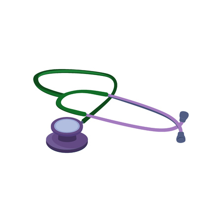 Stethoscope vector illustration. Heartbeat, pulse, medical exam. Medical items concept. Vector illustration can be used for topics like medicine, clinic, healthcare Illustration