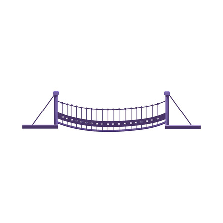 Suspension bridge vector illustration. Rope bridge, footbridge, sightseeing. Bridges concept. Vector illustration can be used for topics like architecture, landmark, construction