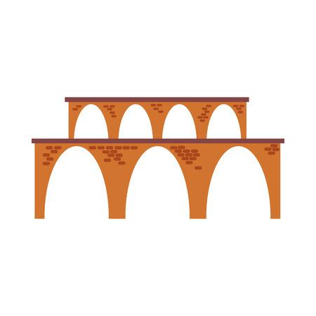 Icône de ligne de viaduc. Aqueduc, pont de chemin de fer, campagne. Notion de ponts. L'illustration vectorielle peut être utilisée pour des sujets tels que l'architecture, les transports, les voyages Vecteurs