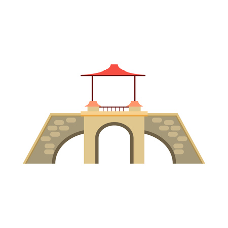 Old stone bridge vector illustration. Footbridge, sightseeing, overpass. Bridges concept. Vector illustration can be used for topics like architecture, landmark, travel Illusztráció