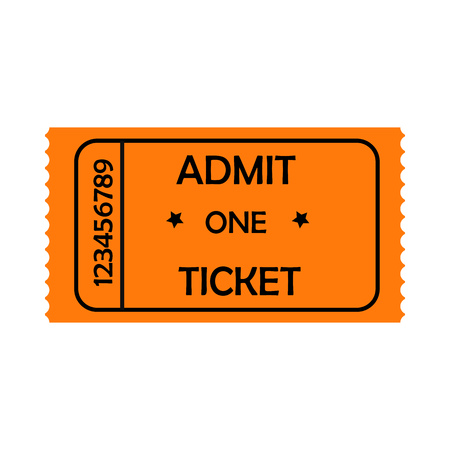 Orange admit one ticket vectorillustration. Performance, cinema, nightclub. Tickets concept. Vector illustration can be used for topics like entertainment, leisure, business