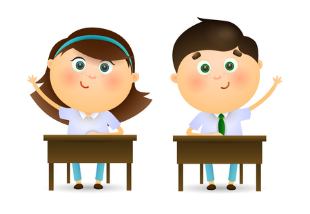 Schoolchildren raising hands at lesson. Cartoon kids sitting at desks and ready to ask teachers question. Can be used for topics like education, studying, school Stock Illustratie