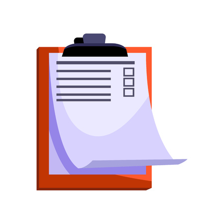Clipboard with to do list. Board and paper with blank checkbox. Office attributes concept. Vector illustration can be used for topics like planning, office routine, paperwork
