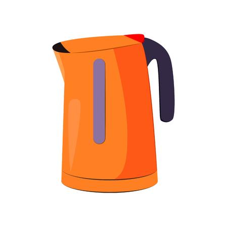 Wasserkocher-Cartoon-Illustration. Orangefarbener Wasserkocher. Konzept für Haushaltsgeräte. Die Vektorgrafik kann für Themen wie Haushalt, Küche, Heißgetränk verwendet werden