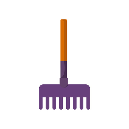 Short garden rake. Compact tool with wooden handle. Agriculture attributes concept. Vector illustration can be used for topics like garden tools, farming, horticulture Çizim