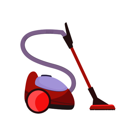 Ilustración de dibujos animados de aspiradora. Dispositivo rojo con manguera y fregona. Concepto de electrodomésticos. La ilustración vectorial se puede utilizar para temas como limpieza, limpieza, alfombras. Ilustración de vector