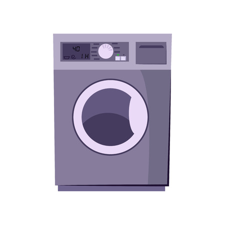 Washing machine cartoon illustration. Rotary washer. Home appliance concept. Vector illustration can be used for topics like housekeeping, laundry, equipment