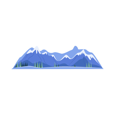 Mountains cartoon illustration. Mountain peaks with snow caps. Mountains concept. Vector illustration can be used for topics like trekking, adventure travel, landscape