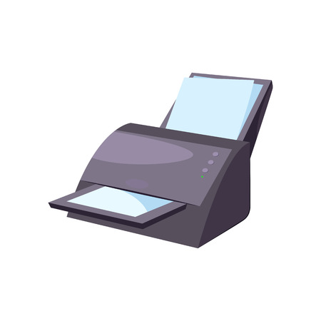 Office printer. Modern computer equipment. Office attributes concept. Vector illustration can be used for topics like workplace, paperwork, printing