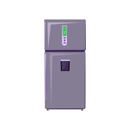 Ilustracja kreskówka lodówka. Lodówka dwukomorowa. Koncepcja urządzenia domowego. Ilustracja wektorowa może być używana do tematów takich jak przechowywanie żywności, sprzątanie, kuchnia Ilustracje wektorowe