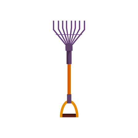 Garden rake. Instrument with wooden handle. Agriculture attributes concept. Vector illustration can be used for topics like garden tools, farming, yard Ilustrace