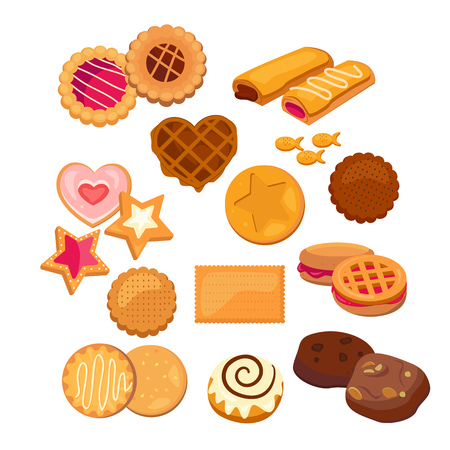 Delicious cookies set. Collection of sweet biscuits. Can be used for topics like dessert, food, bakery Vettoriali