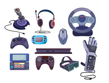 Conjunto de gadgets de juego. Colección de dispositivos para videojuegos. Se puede utilizar para temas como ocio, entretenimiento, virtual, realidad.