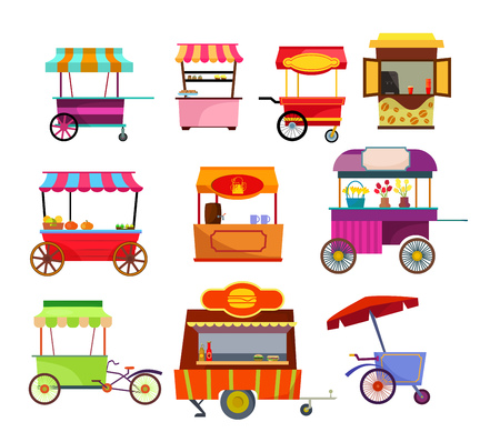 Street vendor set. Collection of fresh food and drinks on counters. Can be used for topics like retail, small business, market