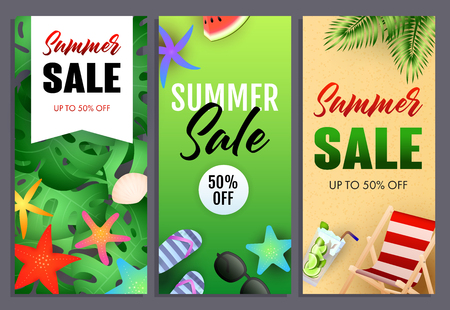 Summer sale letterings set, chaise longue and starfishes. Tourism, summer offer or sale design. Handwritten and typed text, calligraphy. For leaflets, brochures, invitations, posters or banners.