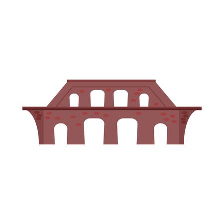 Brick bridge vector illustration. Aqueduct, railroad bridge, wall. Bridges concept. Vector illustration can be used for topics like architecture, transportation, travel Illusztráció