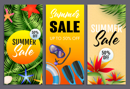 Summer sale letterings set, tropical plants, scuba mask, snorkel. Tourism, summer offer or sale design. Handwritten and typed text, calligraphy. For leaflets, brochures, invitations or posters. Illustration
