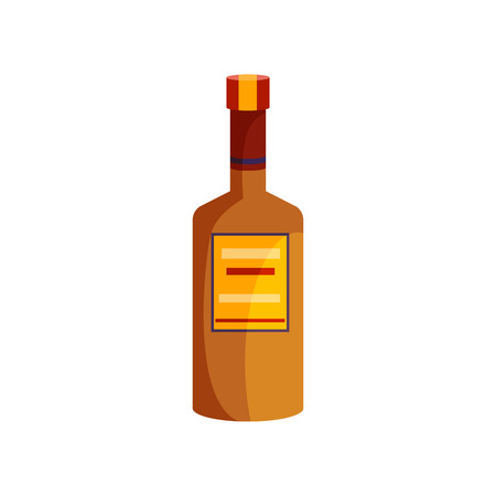 Wine cartoon illustration. Clay bottle with yellow and red blank label and opener on cork. Alcohol concept. Vector illustration can be used for topics like bar menu, winery, wine house
