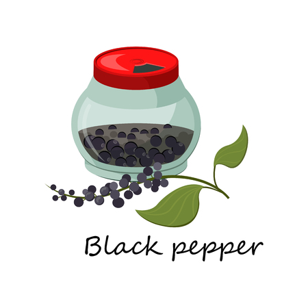 Black pepper spice. Closed jar and twig. Can be used for topics like recipe, cooking, culinary