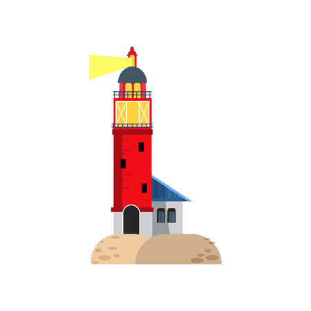 Brick lighthouse with bright light beam. Tall tower for guiding ships. Can be used for topics like travel, storm, navigation