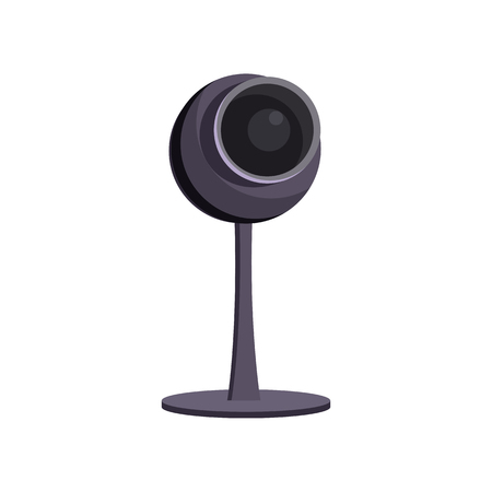 Small gray webcam. Web camera on stand. Can be used for topics like video conferencing, technology, webinar Illustration