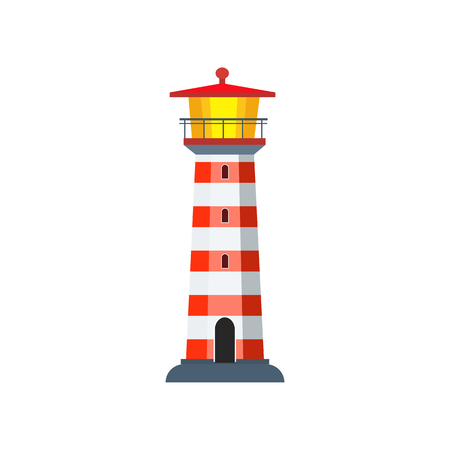 Red and white stripped beacon. Tall tower of lighthouse with observation deck. Can be used for topics like sea, signal, control