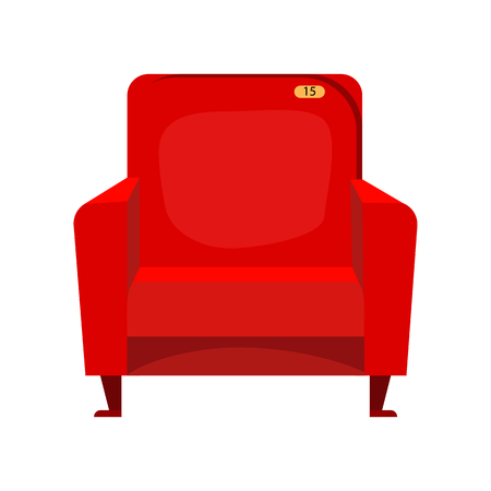 Red cinema armchair. Comfortable furniture in cinema. Can be used for topics like film, leisure, audience