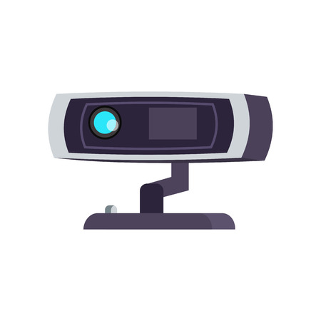 Rectangular security camera. Webcam on stand. Can be used for topics like safety, surveillance, guard
