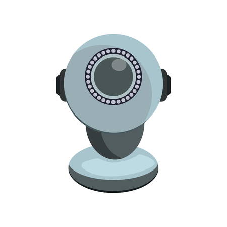 Round web camera on stand. Modern device for video conferencing. Can be used for topics like online communication, computer, technology Illustration