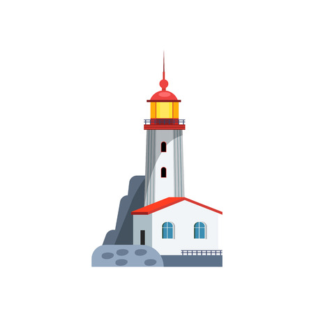 Lighthouse with small house. Lightkeepers building and tall beacon on stone surface. Can be used for topics like signal, ocean, navigation