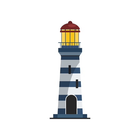 Lighthouse with stripped tower. Modern tower with bright light on top. Can be used for topics like signal, sea, guiding ships
