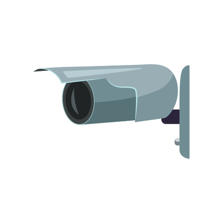 Outdoor wall security camera. Gray security camera. Can be used for topics like alarm, guard, detection Imagens - 122826623