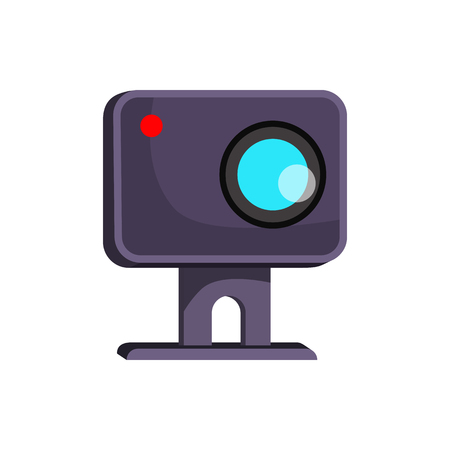 Web camera shooting. Small webcam with red lamp. Can be used for topics like technology, communication, broadcasting Stock Vector - 122826629
