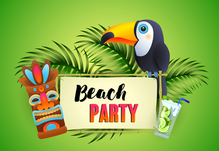 Beach Party lettering, toucan, cocktail and tribal mask. Tourism, summer, holiday design. Handwritten and typed text, calligraphy. For leaflets, brochures, invitations, posters or banners.