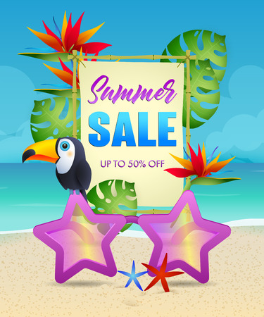 Summer Sale lettering with exotic bird and flowers. Tourism, summer offer or sale design. Handwritten and typed text, calligraphy. For leaflets, brochures, invitations, posters or banners. Illusztráció