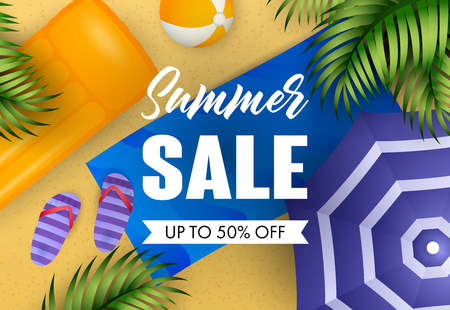 Summer sale lettering with air mattress, beach mat and ball. Vacation, summer offer or sale design. Handwritten and typed text, calligraphy. For leaflets, brochures, invitations, posters or banners.