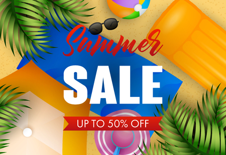 Summer sale lettering with beach mat, hat, ball and air mattress. Summer offer or sale design. Handwritten and typed text, calligraphy. For leaflets, brochures, invitations, posters or banners. 向量圖像