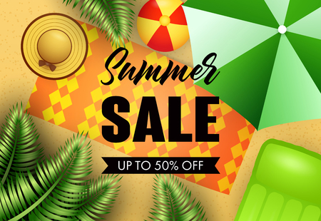 Summer sale lettering with beach mat, hat and umbrella. Vacation, summer offer or sale design. Handwritten and typed text, calligraphy. For leaflets, brochures, invitations, posters or banners.