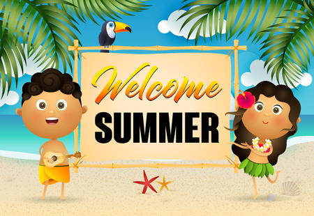 Welcome Summer lettering with happy aborigines. Tourism, summer offer or sale design. Handwritten and typed text, calligraphy. For leaflets, brochures, invitations, posters or banners. Stock Illustratie