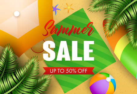 Summer sale lettering with tropical leaves, beach mat and ball. Vacation, summer offer or sale design. Handwritten and typed text, calligraphy. For leaflets, brochures, invitations, posters or banners 版權商用圖片 - 122826648