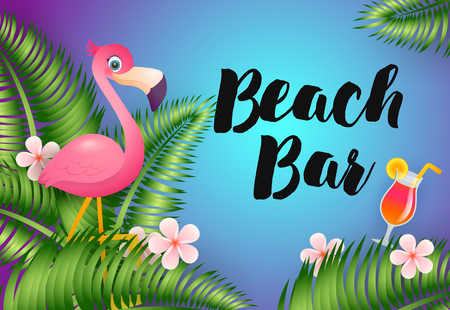 Beach Bar lettering with flamingo and cocktail. Party, summer, holiday advertising design. Handwritten and typed text, calligraphy. For leaflets, brochures, invitations, posters or banners. 向量圖像