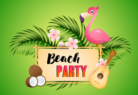 Beach Party lettering with flamingo, ukulele and coconut. Tourism, summer, holiday design. Handwritten and typed text, calligraphy. For leaflets, brochures, invitations, posters or banners.